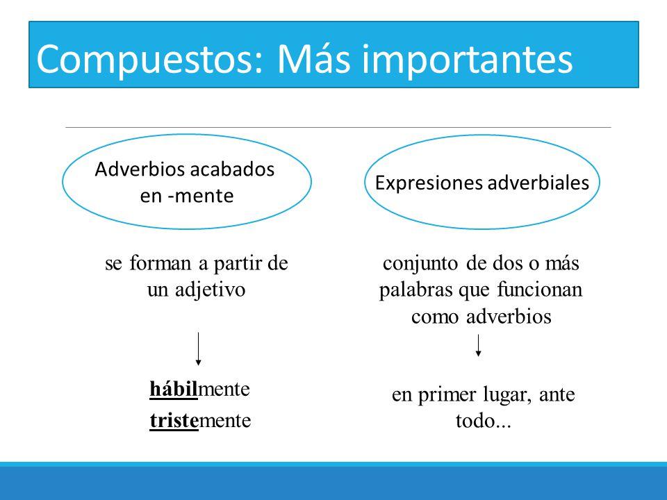 Compuestos: Más importantes Adverbios acabados en -mente Expresiones adverbiales se forman a partir de un adjetivo conjunto de dos o más palabras que