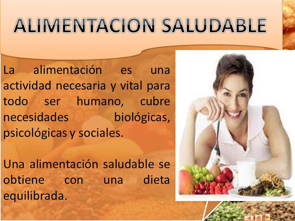 La alimentación es una actividad necesaria y vital para todo ser humano, cubre necesidades biológicas, psicológicas y sociales. Una alimentación salud
