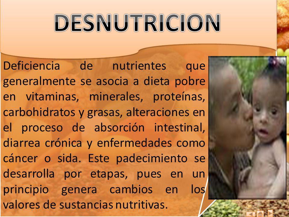 Deficiencia de nutrientes que generalmente se asocia a dieta pobre en vitaminas, minerales, proteínas, carbohidratos y grasas, alteraciones en el proc