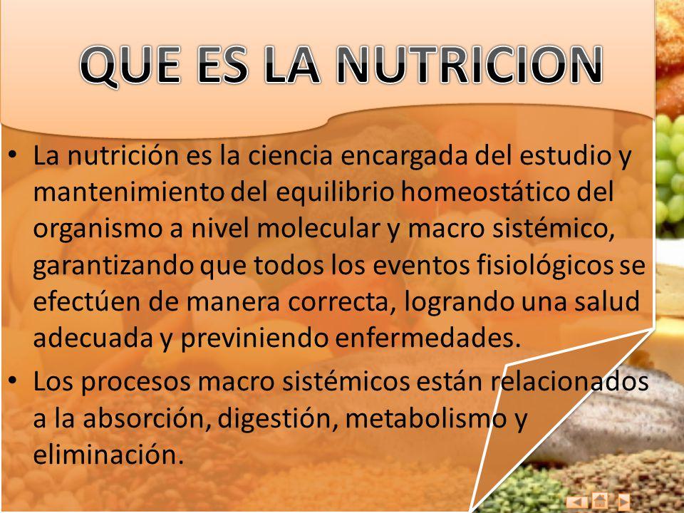 La nutrición es la ciencia encargada del estudio y mantenimiento del equilibrio homeostático del organismo a nivel molecular y macro sistémico, garant