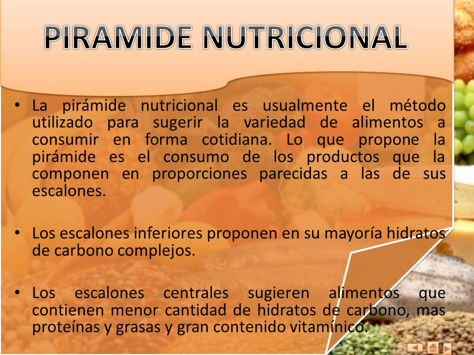 La pirámide nutricional es usualmente el método utilizado para sugerir la variedad de alimentos a consumir en forma cotidiana. Lo que propone la pirám