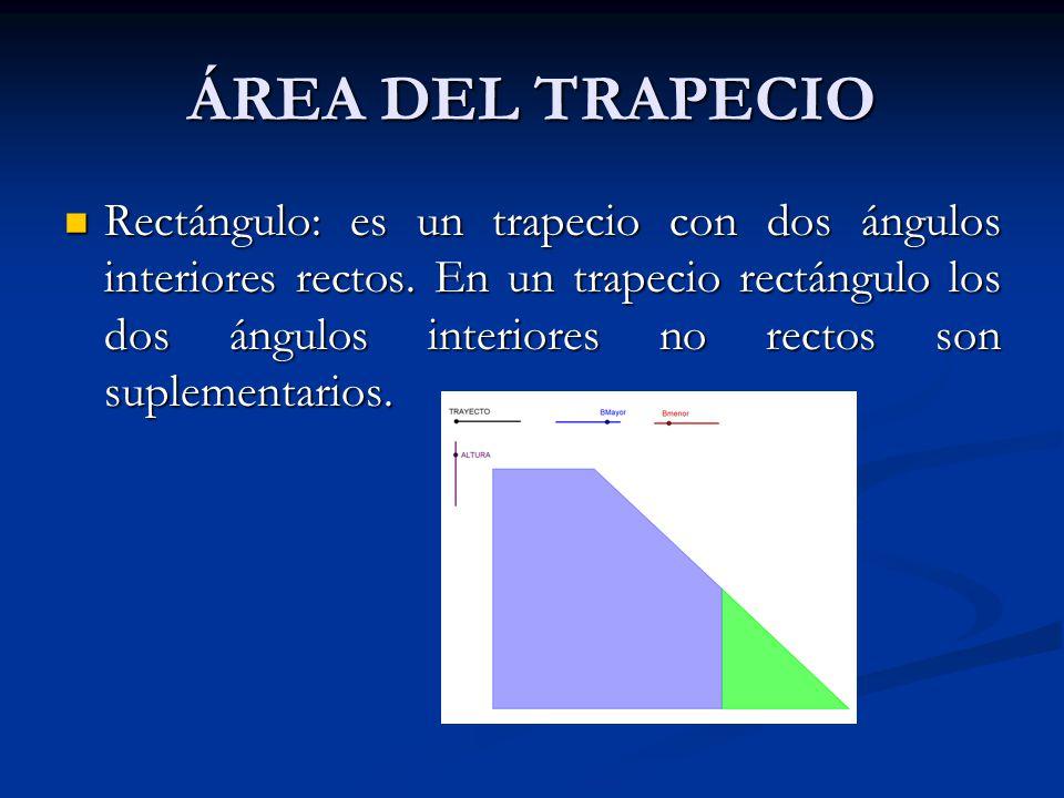 ÁREA DEL TRAPECIO Existen tres tipos de trapecio: Existen tres tipos de trapecio: Isósceles: es aquel cuyos lados no paralelos son de la misma longitu