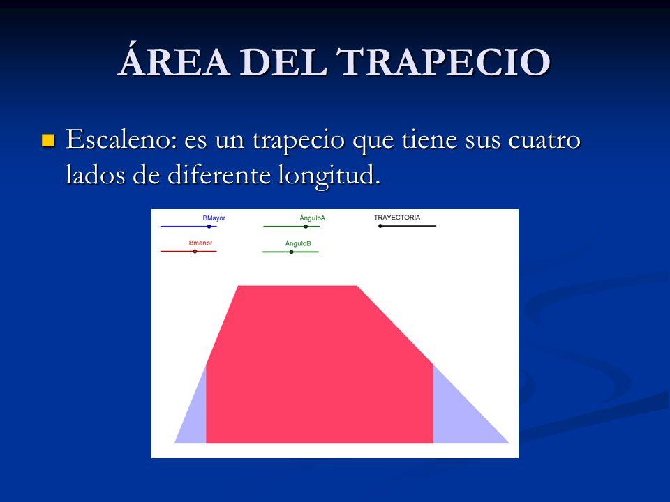 ÁREA DEL TRAPECIO Rectángulo: es un trapecio con dos ángulos interiores rectos. En un trapecio rectángulo los dos ángulos interiores no rectos son sup