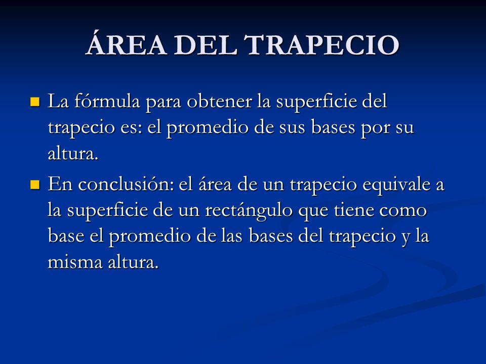 ÁREA DEL TRAPECIO Escaleno: es un trapecio que tiene sus cuatro lados de diferente longitud. Escaleno: es un trapecio que tiene sus cuatro lados de di