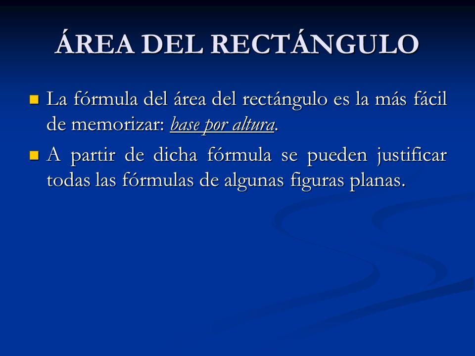 ÁREA DEL RECTÁNGULO La fórmula del área del rectángulo es la más fácil de memorizar: base por altura.