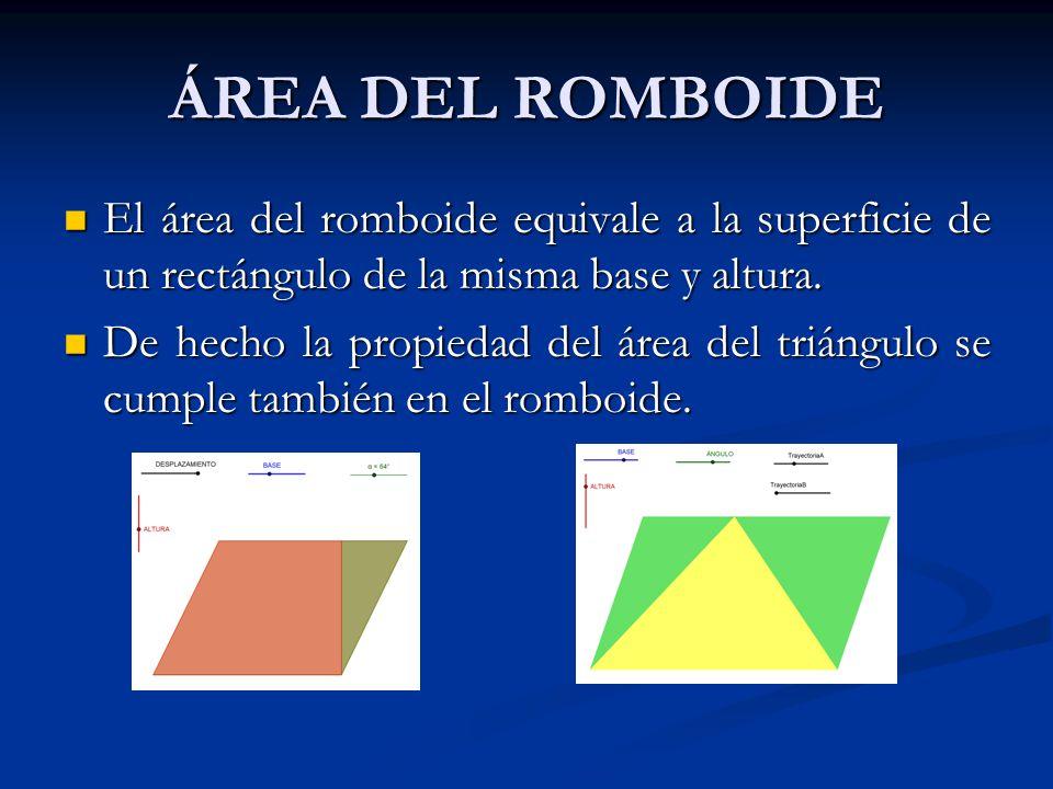 ÁREA DEL ROMBOIDE El área del romboide equivale a la superficie de un rectángulo de la misma base y altura.