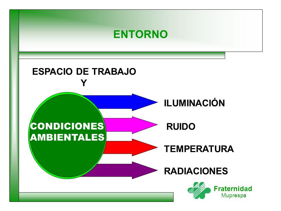 Fraternidad Muprespa ENTORNO CONDICIONES AMBIENTALES ILUMINACIÓN RUIDO TEMPERATURA RADIACIONES ESPACIO DE TRABAJO Y