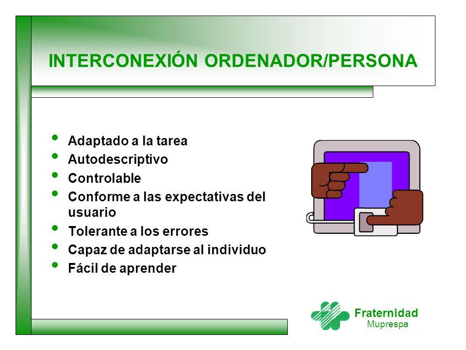 Fraternidad Muprespa INTERCONEXIÓN ORDENADOR/PERSONA Adaptado a la tarea Autodescriptivo Controlable Conforme a las expectativas del usuario Tolerante