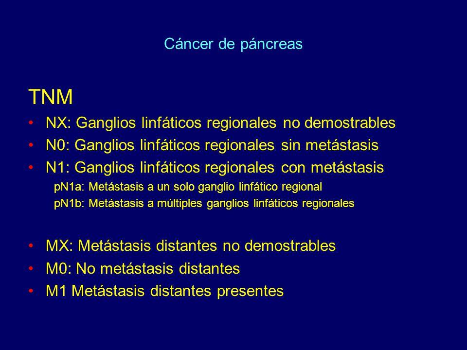 Cáncer de páncreas TNM NX: Ganglios linfáticos regionales no demostrables N0: Ganglios linfáticos regionales sin metástasis N1: Ganglios linfáticos re