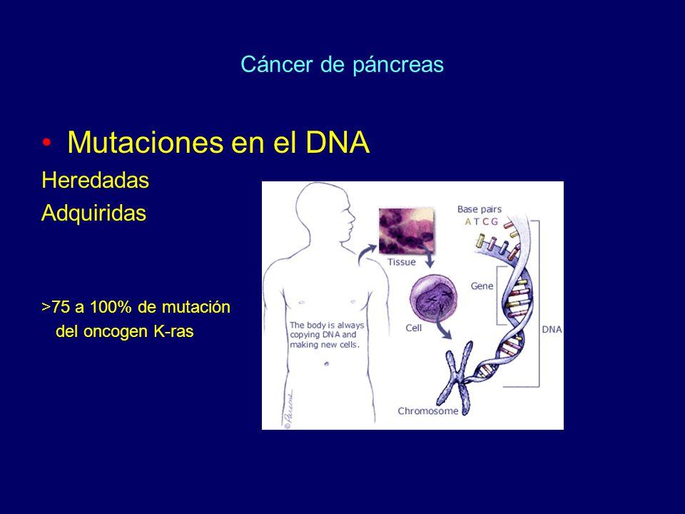 Cáncer de páncreas Mutaciones en el DNA Heredadas Adquiridas >75 a 100% de mutación del oncogen K-ras