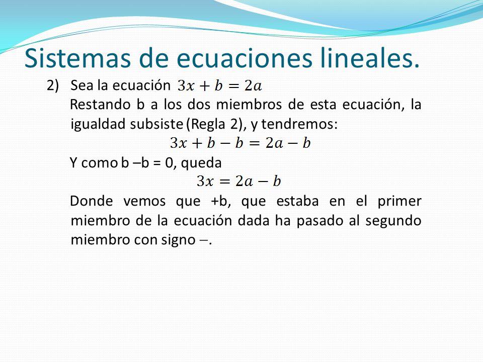 Sistemas de ecuaciones lineales. 2)Sea la ecuación Restando b a los dos miembros de esta ecuación, la igualdad subsiste (Regla 2), y tendremos: Y como