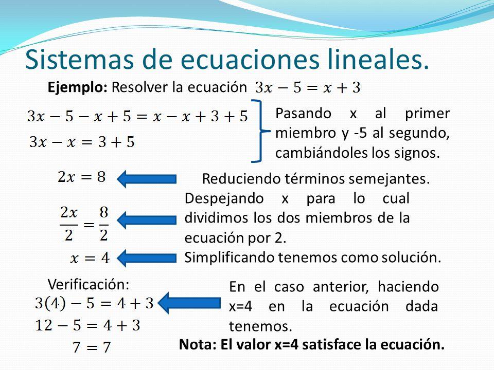 Sistemas de ecuaciones lineales. Ejemplo: Resolver la ecuación Verificación: Simplificando tenemos como solución. Despejando x para lo cual dividimos