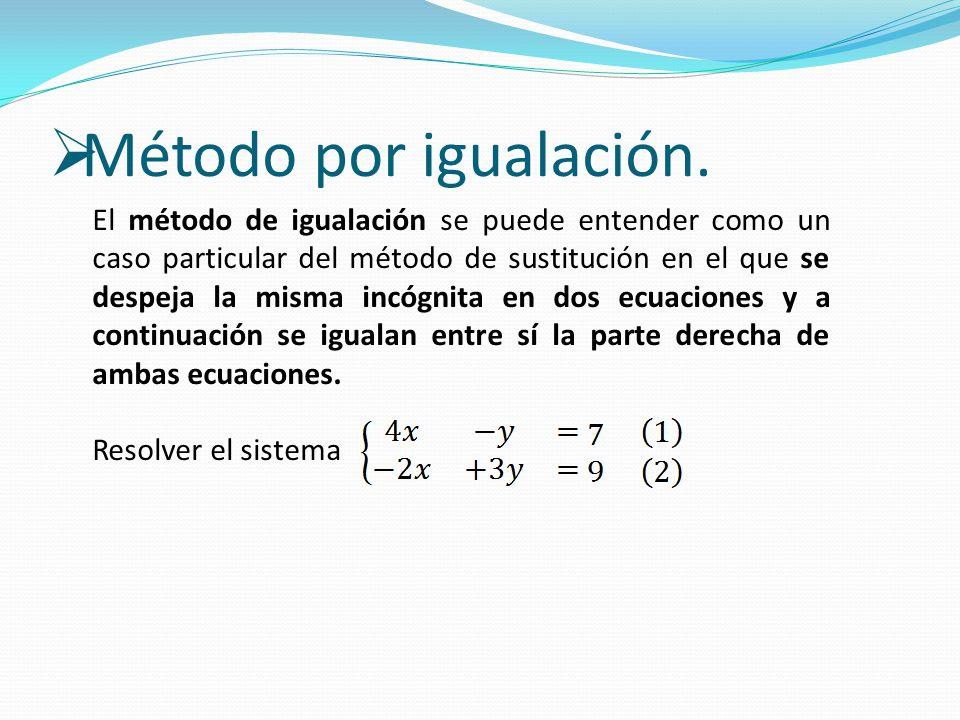  Método por igualación. El método de igualación se puede entender como un caso particular del método de sustitución en el que se despeja la misma inc