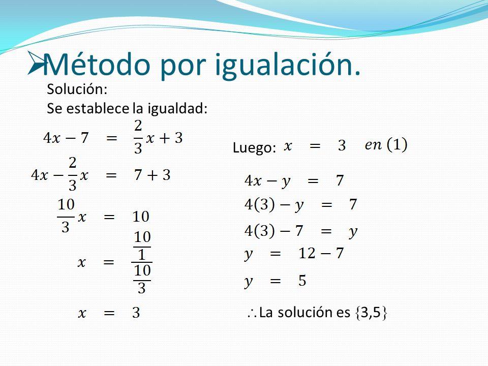 Solución: Se establece la igualdad: Luego:  La solución es  3,5 