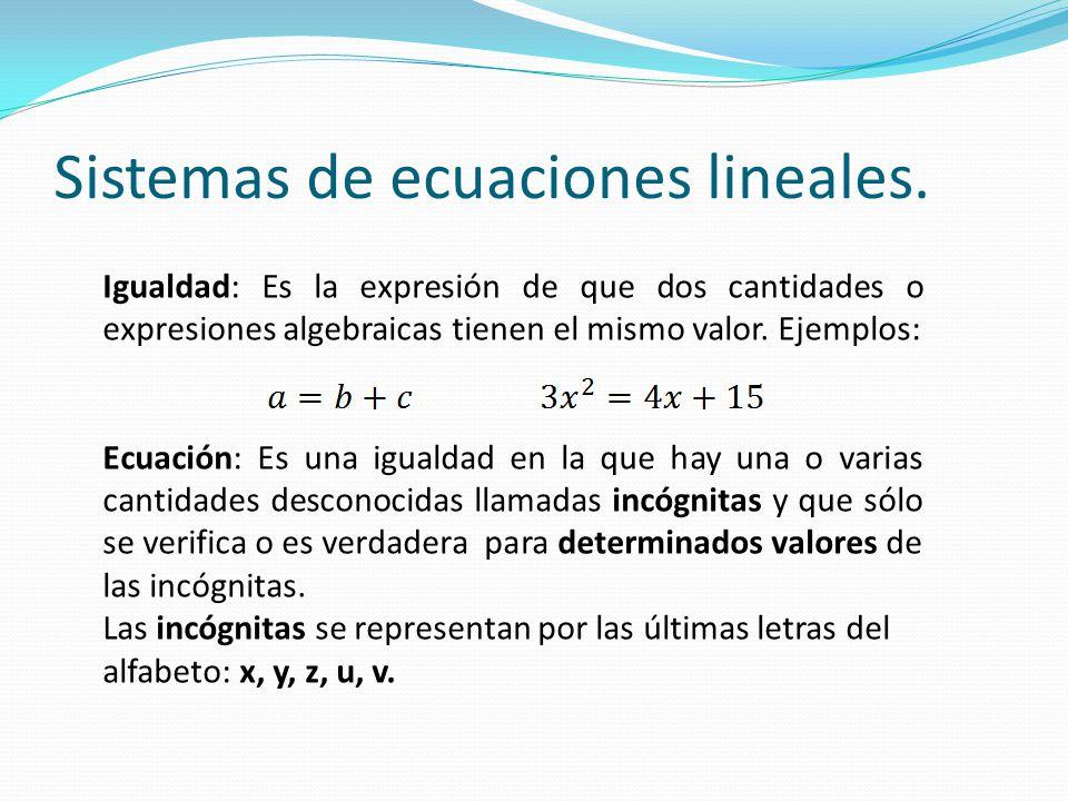 Sistemas de ecuaciones lineales. Igualdad: Es la expresión de que dos cantidades o expresiones algebraicas tienen el mismo valor. Ejemplos: Ecuación: