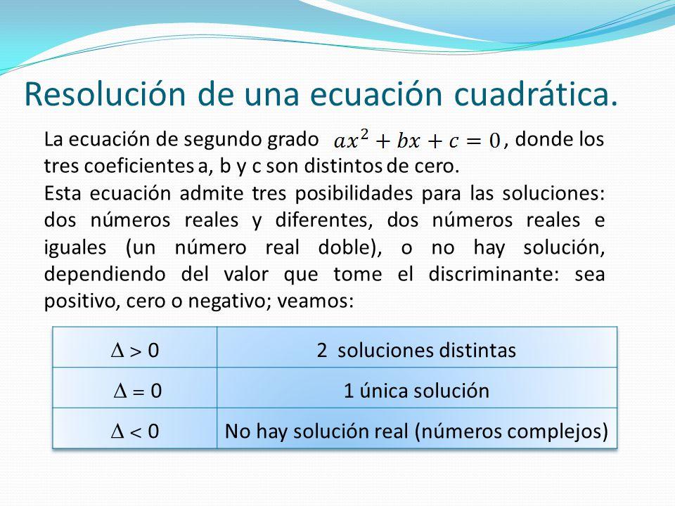 Resolución de una ecuación cuadrática. La ecuación de segundo grado, donde los tres coeficientes a, b y c son distintos de cero. Esta ecuación admite