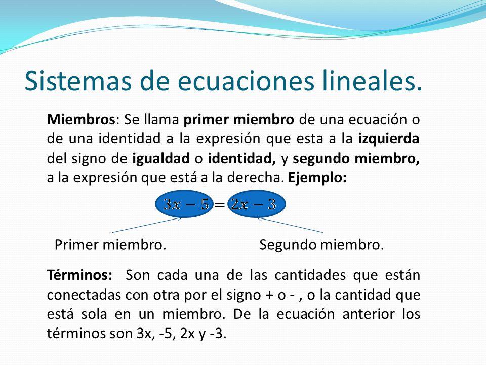 Miembros: Se llama primer miembro de una ecuación o de una identidad a la expresión que esta a la izquierda del signo de igualdad o identidad, y segun
