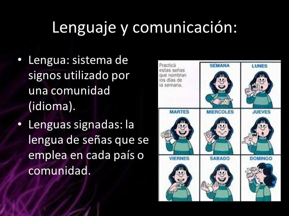 Lenguaje y comunicación: Lengua: sistema de signos utilizado por una comunidad (idioma). Lenguas signadas: la lengua de señas que se emplea en cada pa