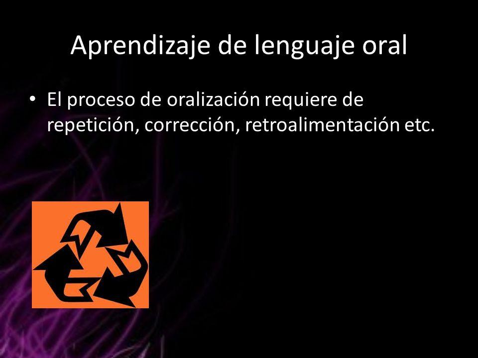 Aprendizaje de lenguaje oral El proceso de oralización requiere de repetición, corrección, retroalimentación etc.