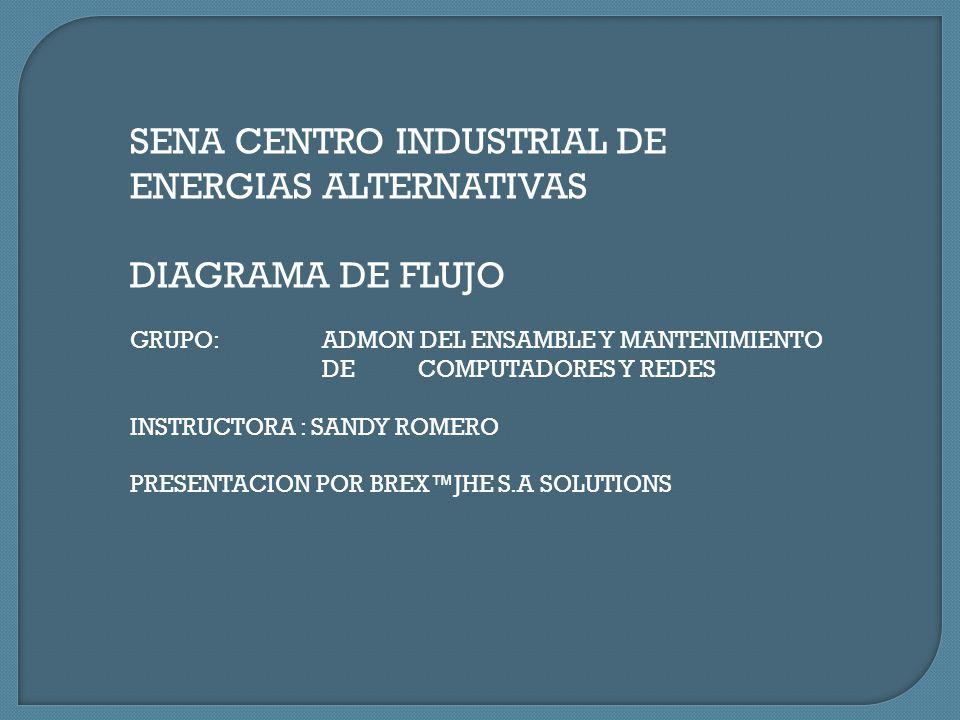 SENA CENTRO INDUSTRIAL DE ENERGIAS ALTERNATIVAS DIAGRAMA DE FLUJO GRUPO: ADMON DEL ENSAMBLE Y MANTENIMIENTO DE COMPUTADORES Y REDES INSTRUCTORA : SAND