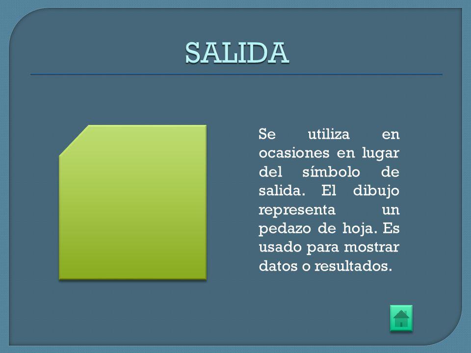 Se utiliza en ocasiones en lugar del símbolo de salida. El dibujo representa un pedazo de hoja. Es usado para mostrar datos o resultados.