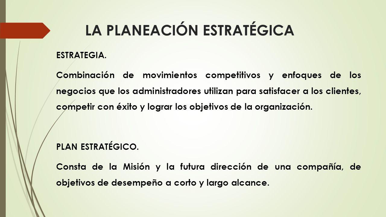 ESTRATEGIA. Combinación de movimientos competitivos y enfoques de los negocios que los administradores utilizan para satisfacer a los clientes, compet