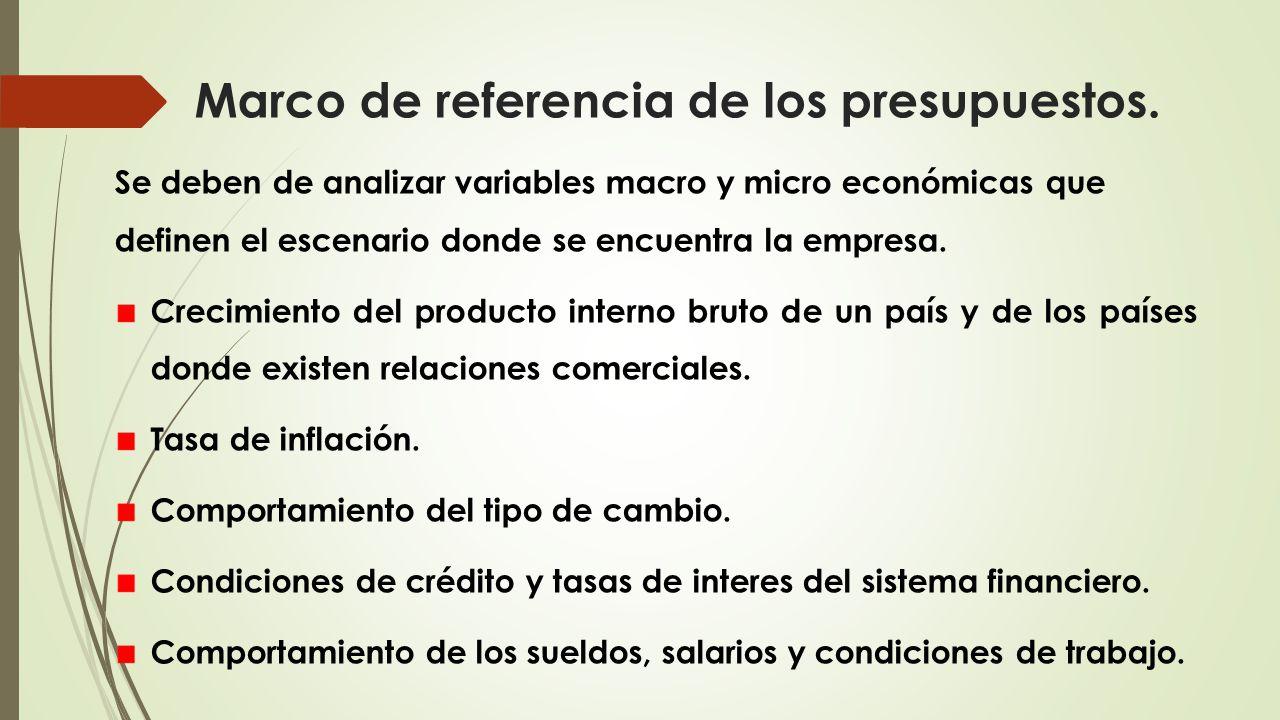 Marco de referencia de los presupuestos. Se deben de analizar variables macro y micro económicas que definen el escenario donde se encuentra la empres