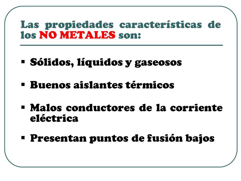 Las propiedades características de los NO METALES son:  Sólidos, líquidos y gaseosos  Buenos aislantes térmicos  Malos conductores de la corriente eléctrica  Presentan puntos de fusión bajos