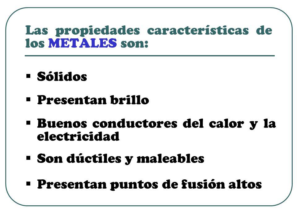 Las propiedades características de los METALES son:  Sólidos  Presentan puntos de fusión altos  Presentan brillo  Buenos conductores del calor y la electricidad  Son dúctiles y maleables