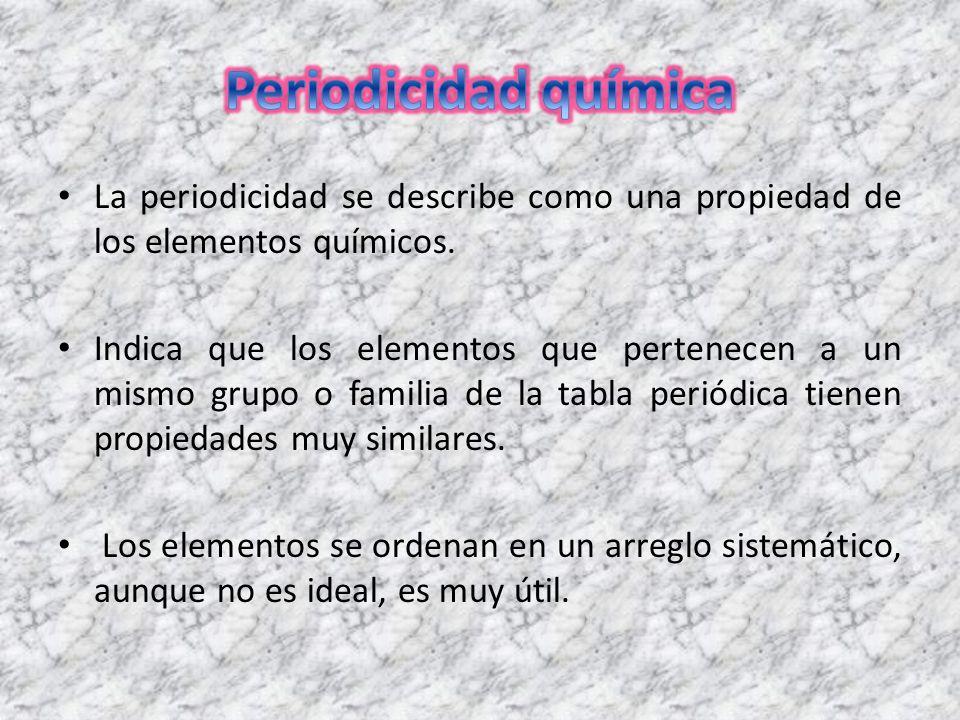 La periodicidad se describe como una propiedad de los elementos indica que los elementos que pertenecen a un mismo grupo o familia de la tabla peridica tienen propiedades muy similares urtaz Choice Image
