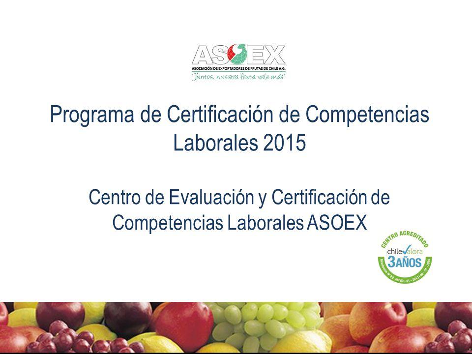 Programa de Certificación de Competencias Laborales 2015 Centro de Evaluación y Certificación de Competencias Laborales ASOEX