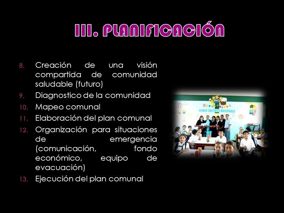 8. Creación de una visión compartida de comunidad saludable (futuro) 9.