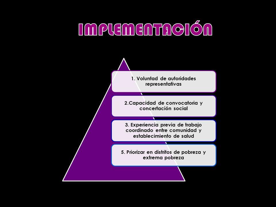 1. Voluntad de autoridades representativas 2.Capacidad de convocatoria y concertación social 3.