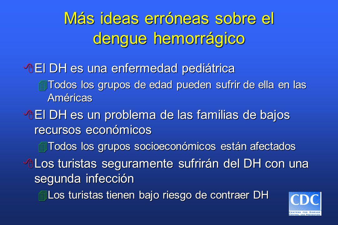 Más ideas erróneas sobre el dengue hemorrágico 8 El DH es una enfermedad pediátrica 4Todos los grupos de edad pueden sufrir de ella en las Américas 8 El DH es un problema de las familias de bajos recursos económicos 4Todos los grupos socioeconómicos están afectados 8 Los turistas seguramente sufrirán del DH con una segunda infección 4Los turistas tienen bajo riesgo de contraer DH