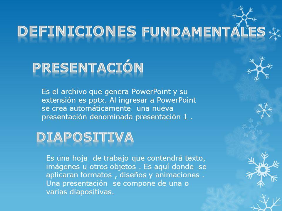 Es el archivo que genera PowerPoint y su extensión es pptx.