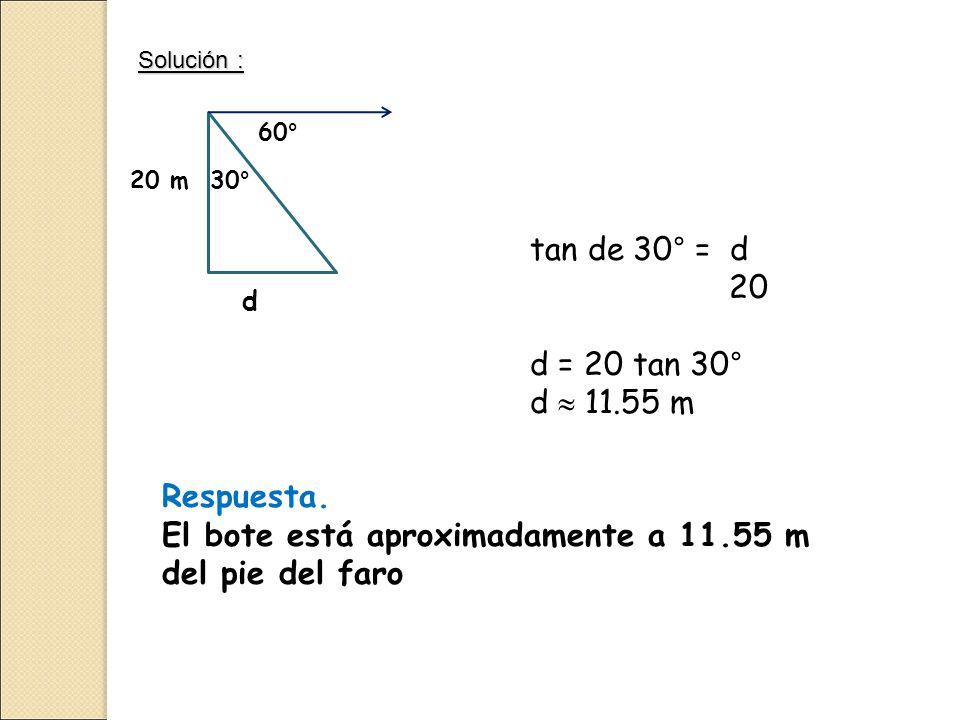 Solución : 60° 30°20 m d tan de 30° = d 20 d = 20 tan 30° d  11.55 m Respuesta.