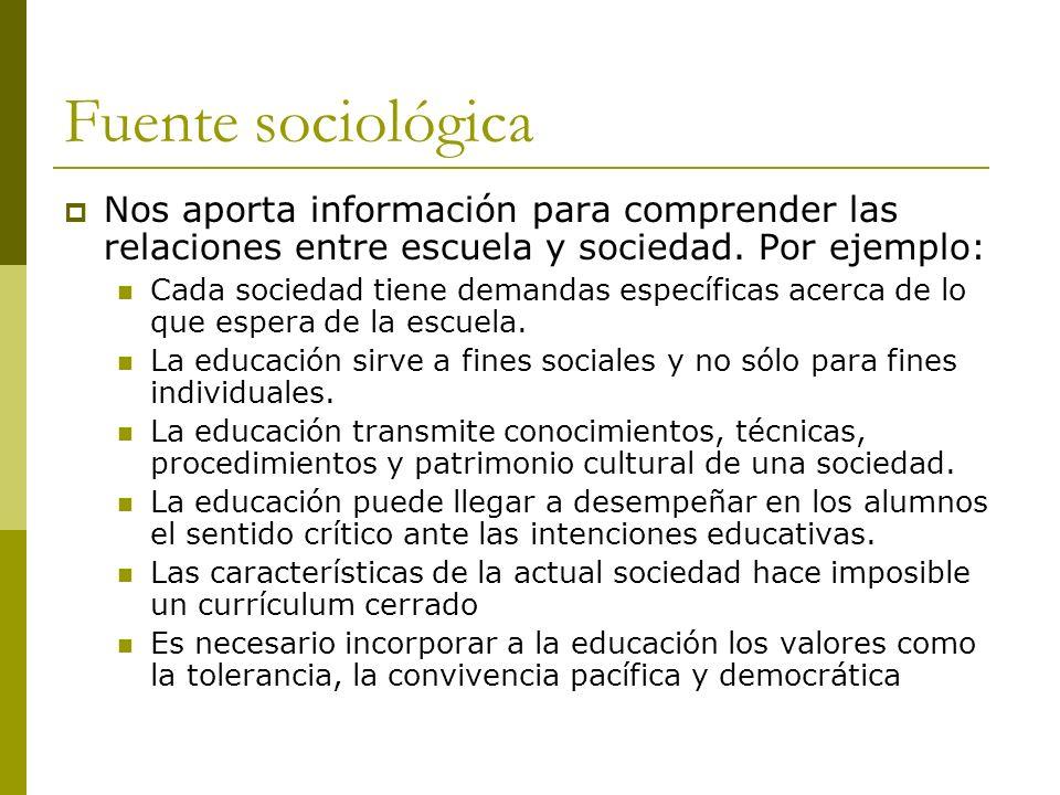 Fuente sociológica Nos aporta información para comprender las relaciones entre escuela y sociedad.