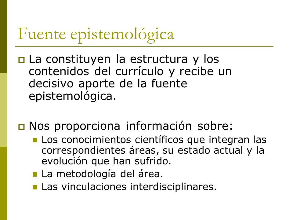 Fuente epistemológica La constituyen la estructura y los contenidos del currículo y recibe un decisivo aporte de la fuente epistemológica.