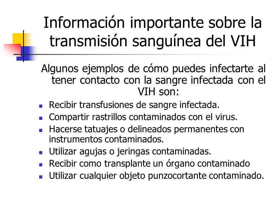 Información importante sobre la transmisión sanguínea del VIH Algunos ejemplos de cómo puedes infectarte al tener contacto con la sangre infectada con