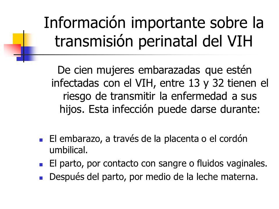 Información importante sobre la transmisión perinatal del VIH De cien mujeres embarazadas que estén infectadas con el VIH, entre 13 y 32 tienen el rie