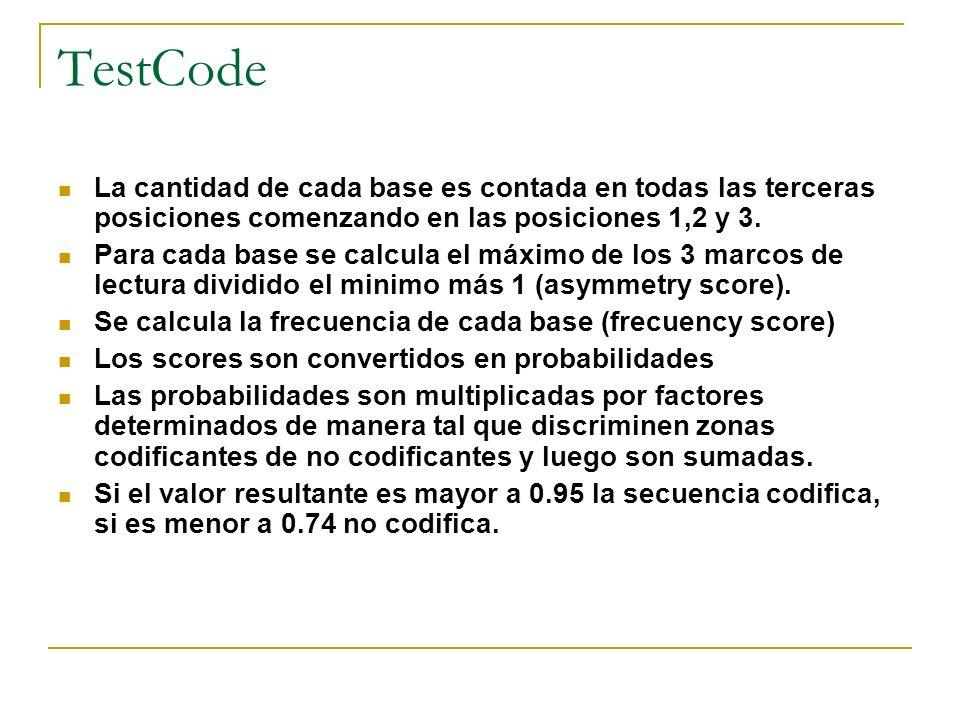 TestCode La cantidad de cada base es contada en todas las terceras posiciones comenzando en las posiciones 1,2 y 3. Para cada base se calcula el máxim