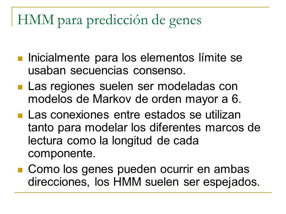HMM para predicción de genes Inicialmente para los elementos límite se usaban secuencias consenso. Las regiones suelen ser modeladas con modelos de Ma