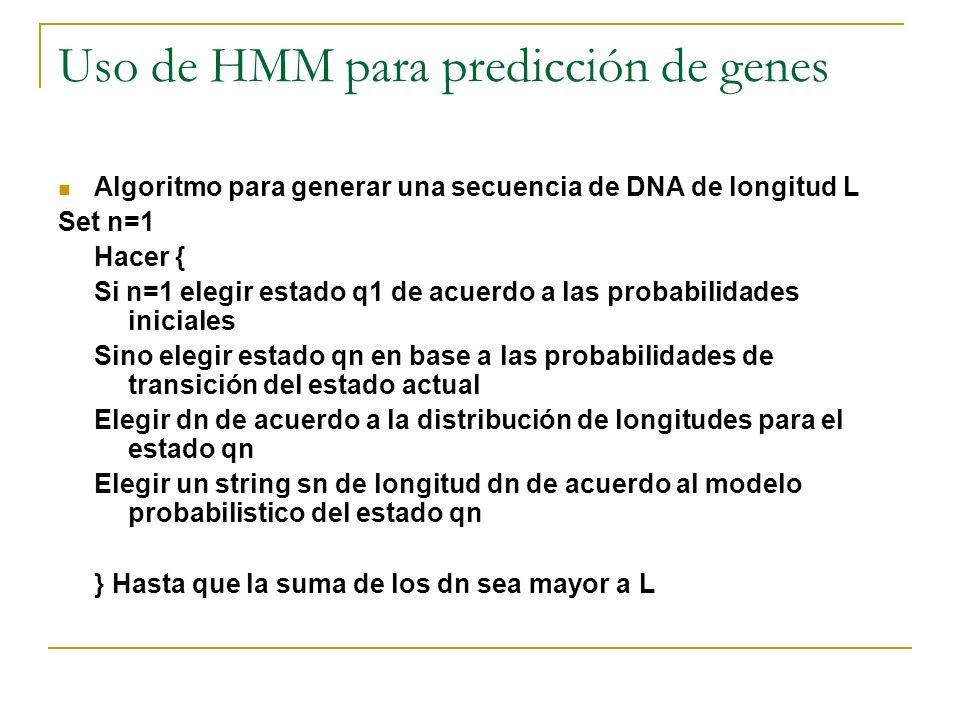 Uso de HMM para predicción de genes Algoritmo para generar una secuencia de DNA de longitud L Set n=1 Hacer { Si n=1 elegir estado q1 de acuerdo a las