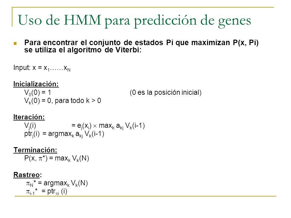 Uso de HMM para predicción de genes Para encontrar el conjunto de estados Pi que maximizan P(x, Pi) se utiliza el algoritmo de Viterbi: Input: x = x 1