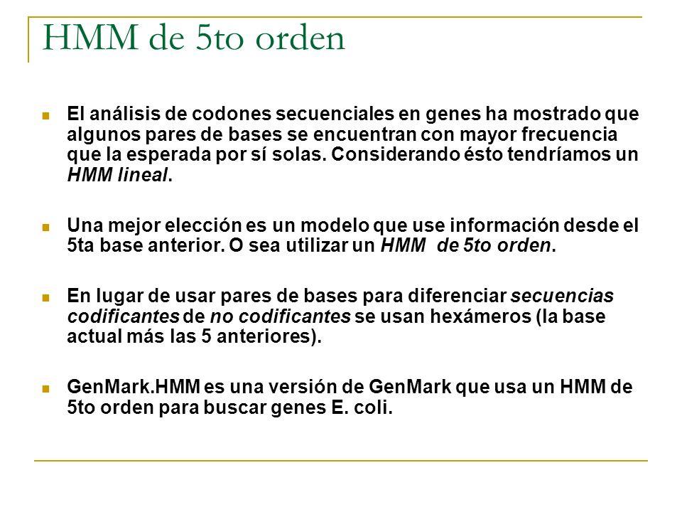 HMM de 5to orden El análisis de codones secuenciales en genes ha mostrado que algunos pares de bases se encuentran con mayor frecuencia que la esperad