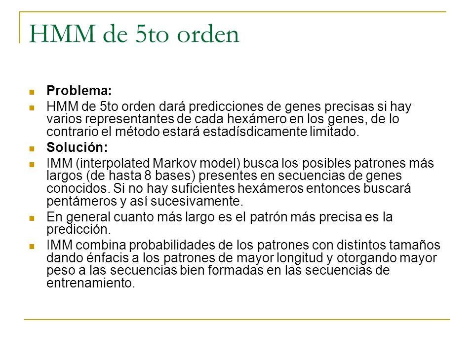 HMM de 5to orden Problema: HMM de 5to orden dará predicciones de genes precisas si hay varios representantes de cada hexámero en los genes, de lo cont