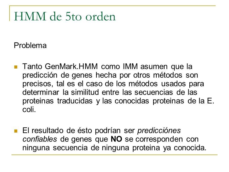 HMM de 5to orden Problema Tanto GenMark.HMM como IMM asumen que la predicción de genes hecha por otros métodos son precisos, tal es el caso de los mét