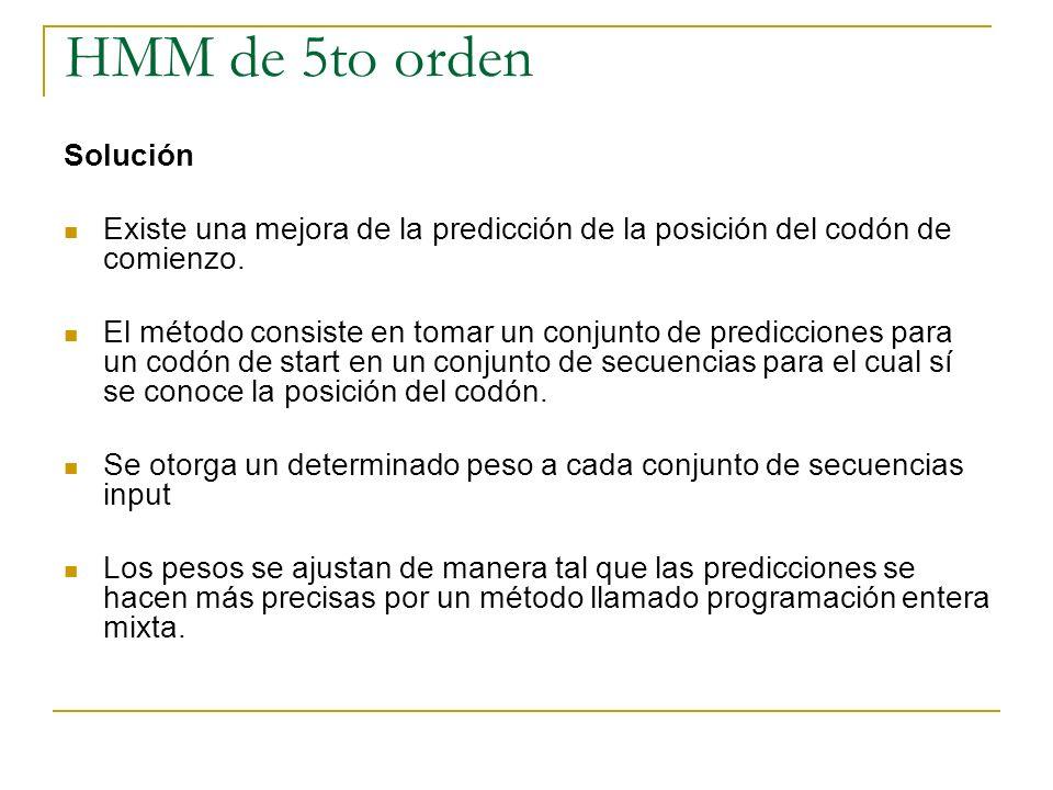 HMM de 5to orden Solución Existe una mejora de la predicción de la posición del codón de comienzo. El método consiste en tomar un conjunto de predicci