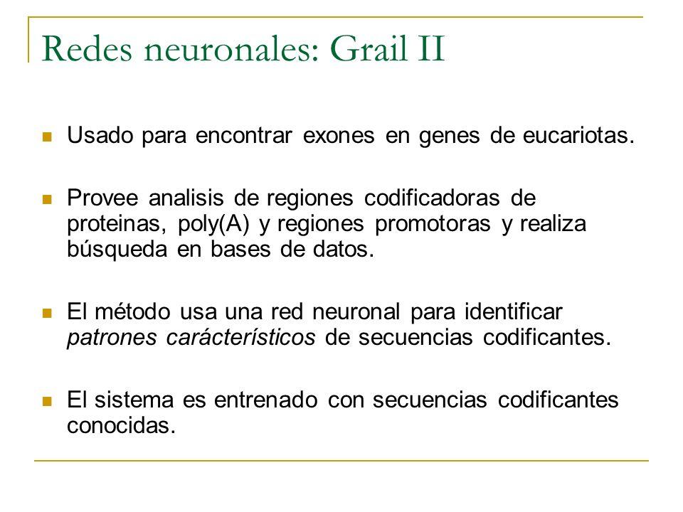 Redes neuronales: Grail II Usado para encontrar exones en genes de eucariotas. Provee analisis de regiones codificadoras de proteinas, poly(A) y regio