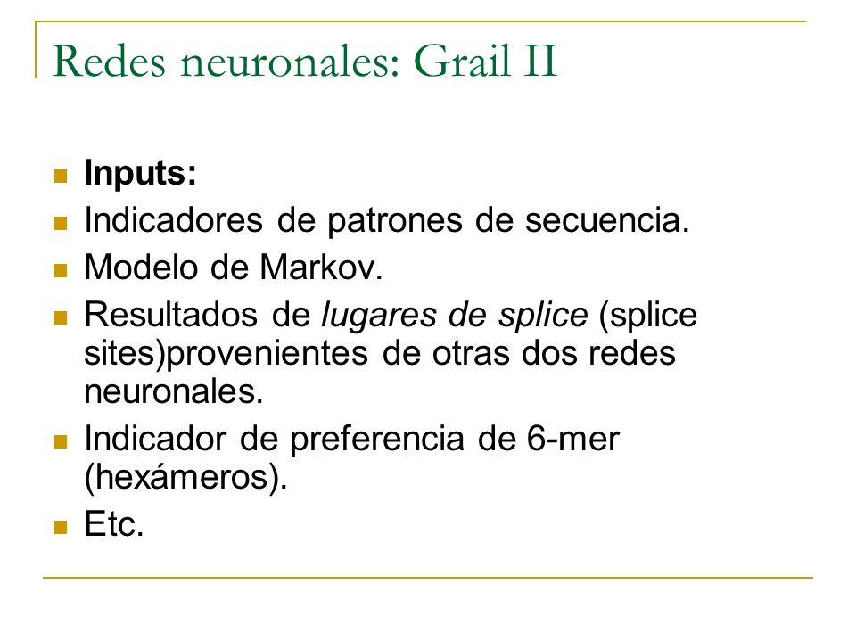 Inputs: Indicadores de patrones de secuencia. Modelo de Markov. Resultados de lugares de splice (splice sites)provenientes de otras dos redes neuronal